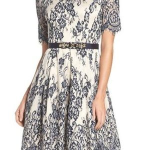Nordstrom Eliza J Navy Fit and Flare Dress - 4P
